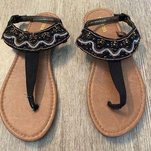 Shoes - Black embellished beaded sandals